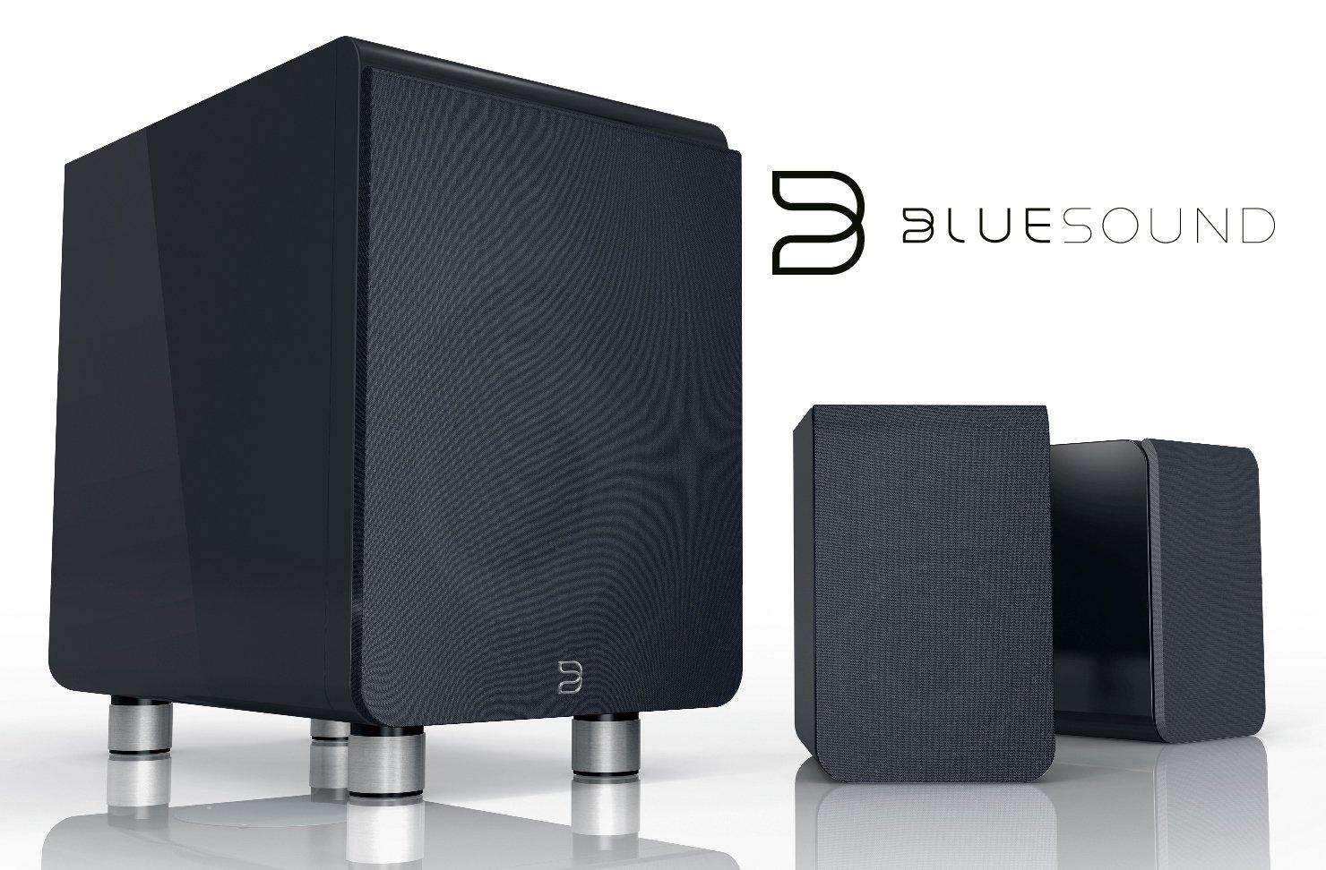 Das Bluesound Duo Lautsprechersystem aus Sateliten und Subwoofer kauft man beim AkustikTune Hifi Fachhandel
